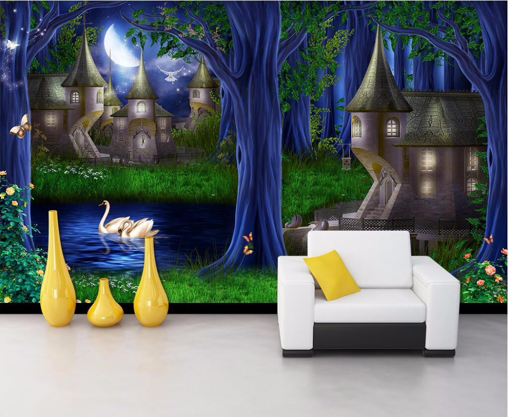 Custom photo 3d wallpaper mural forest castle fairy tale for Fairy castle mural