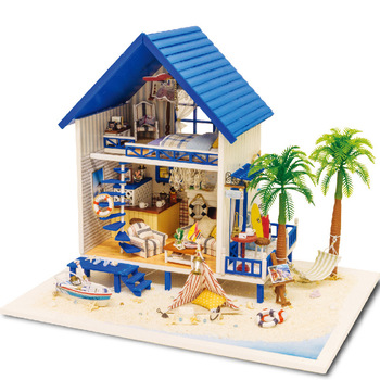 Miniature Dollhouse Furniture Kits Wooden Aegean Sea Beach Villa Model DIY Dolls House Toys For Children Kids Birthday Xmas Gift