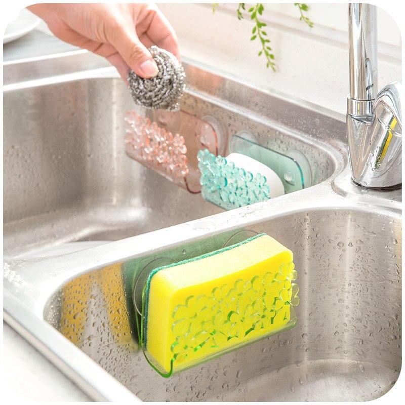 flowers kitchen sink sponge side shelf racks shelving rack drain cotton bathchina - Kitchen Sink Holder