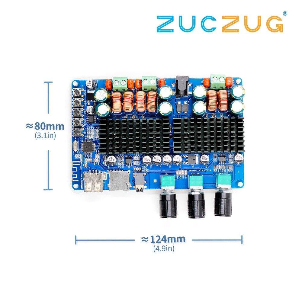 Arsmundi DC 12 V 24 V TPA3116 50 W + 50 W + 100 W Bluetooth USB TF décodage 2.1 canaux carte amplificateur de puissance numérique prise en charge MP3