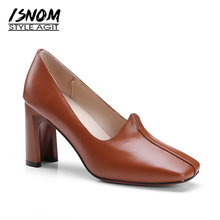 ISNOM New Cow Leather High Heels Women Pumps Office Spring Fashion Ladies Shoes Sewing Strange Style Square Toe Shallow Footwear