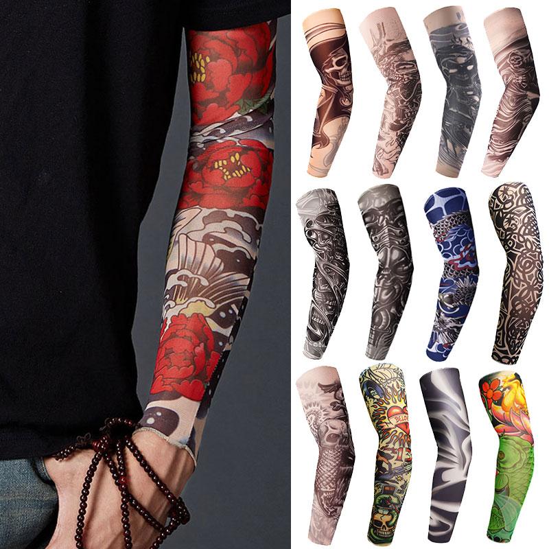 Fioday New Temporary Fake Tattoo Sleeve Unisex Arm Warmer Designs Elastic Summer Arm Sleeves Cover Tattoos Sun UV Protection