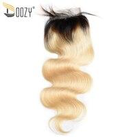 Doozy brésilienne corps vague ombre 1b/613 russe blonde remy de cheveux humains dentelle fermeture