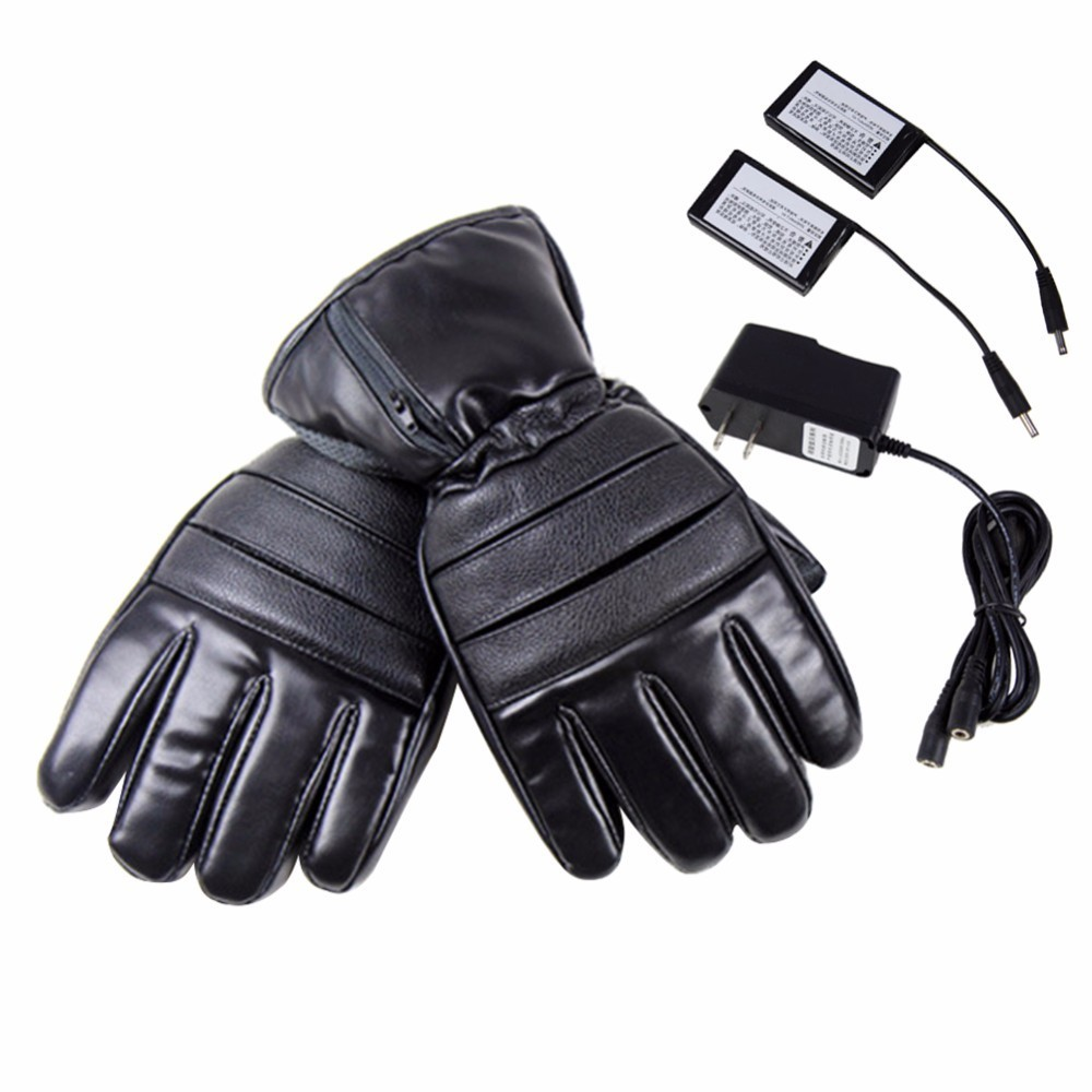 PU Leather Heated Gloves Winter Skiing Outdoor Warmer Gloves Electric Heated Hands Glove With 4000mAh Rechargeable Battery
