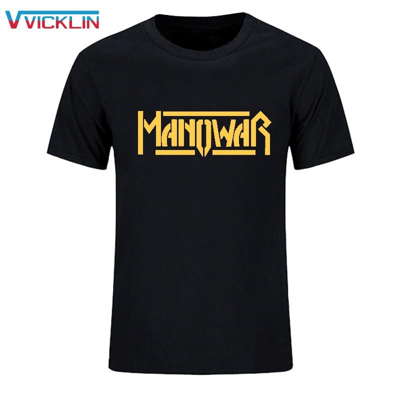 2018 moda de algodón de manga corta camiseta impresa Manowar Rock Band chándales ropa deportiva hombres monopatín Hip Hop más tamaño