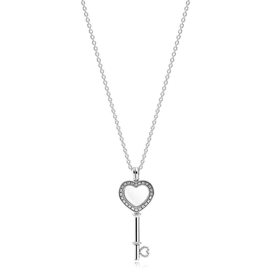 925 Silver Floating Locket Heart Key Necklace for Women Pave Crystal & Clear CZ Silver Dangle Choker fit Pandora Jewelry