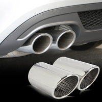 DWCX 2x Chrome Stainless Steel Tail Rear Exhaust Muffler Tip Tail Pipe For Audi A5 2door