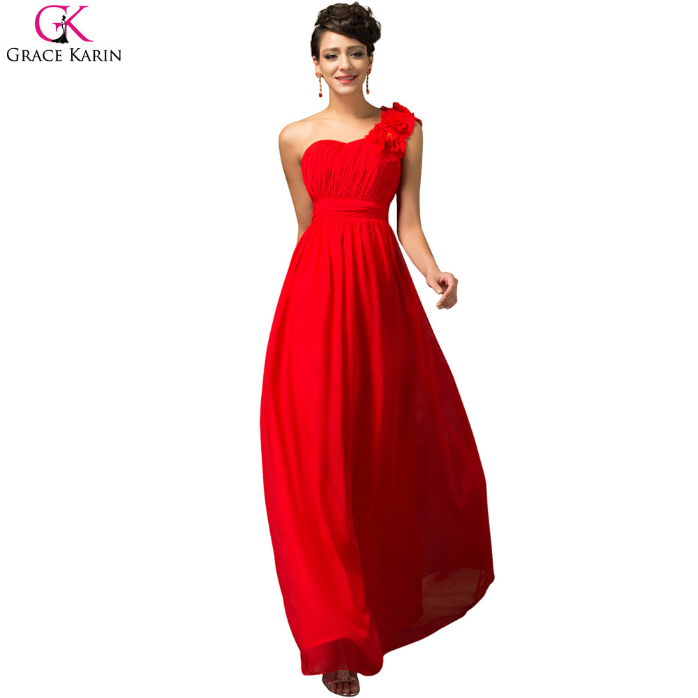 Grace Karin Red Blue 2016 Chiffon One Shoulder Cheap Long Bridesmaid Dress Wedding Party Vestido De Festa - Evening Co. Limited store