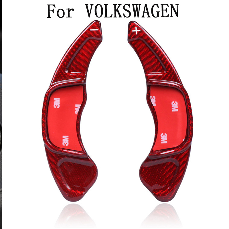 100% real Red <font><b>carbon</b></font> fiber For Volkswagen CC <font><b>Golf</b></font> <font><b>7</b></font> Sagitar New Scirocco lengthened <font><b>carbon</b></font> fiber shifting shift <font><b>steering</b></font> <font><b>wheel</b></font> image