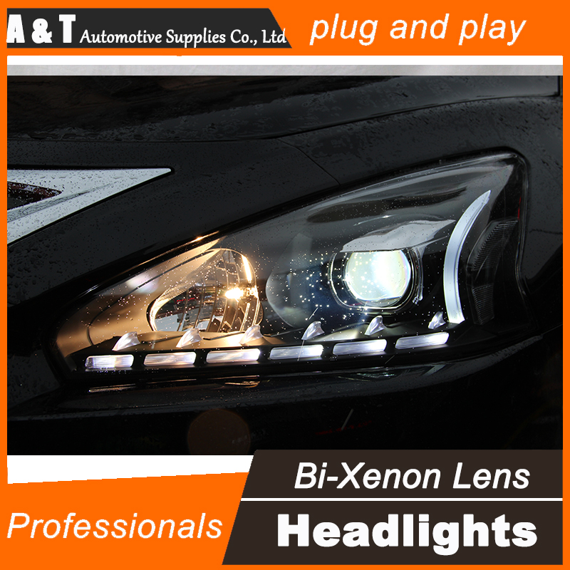 Car Styling for Nissan Teana LED Headlight 2013-2015 New Altima DRL Lens Double Beam H7 HID Xenon bi xenon lens hireno headlamp for 2013 2015 nissan tiida headlight assembly led drl angel lens double beam hid xenon 2pcs