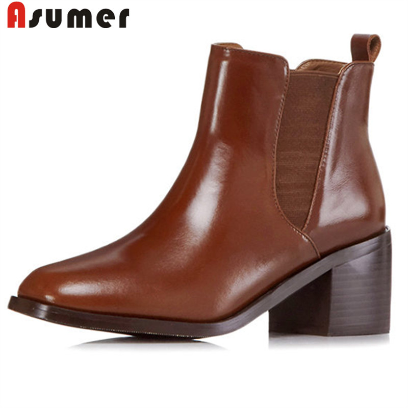 цена на ASUMER big size 34-42 fashion autumn winter shoes woman square toe ankle boots women high heels genuine leather ladies boots