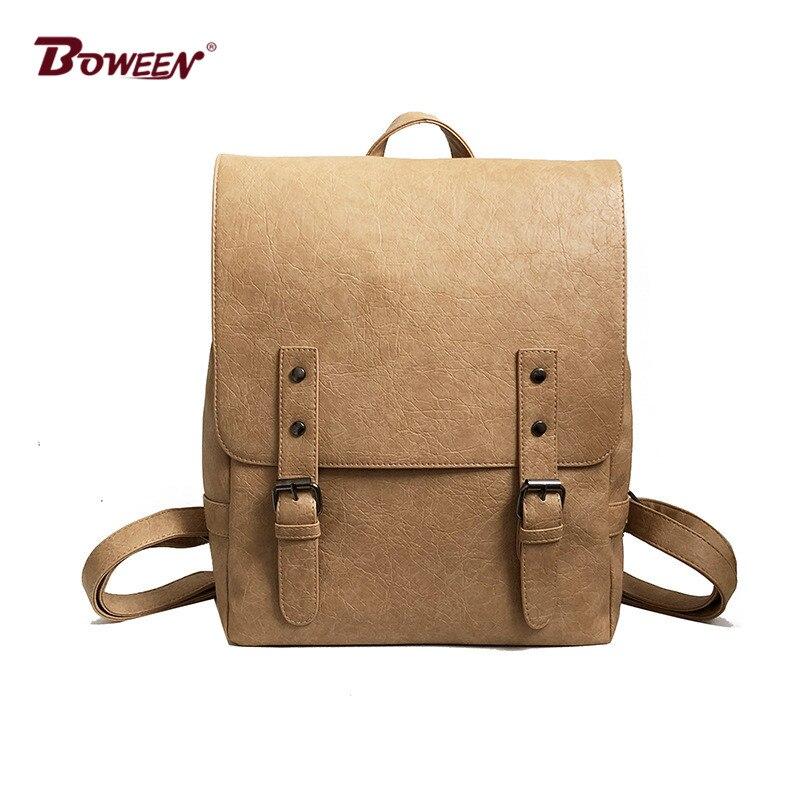 high quality pu leather backpack female vintage College style Casual back bag women back pack Solid Belt buckle design Large все цены