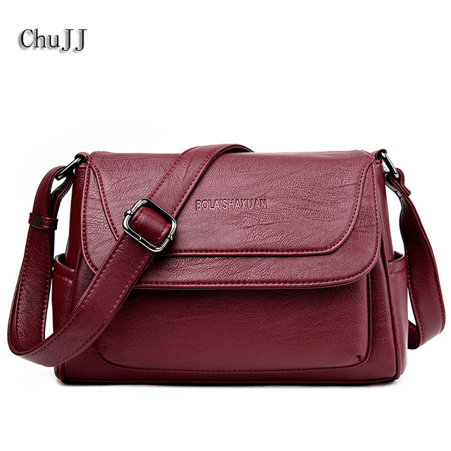db3d7d160c1 Women s Genuine Leather Handbags All-match Shoulder CrossBody Bags Fashion  Messenger Bag Ladies Solid Color