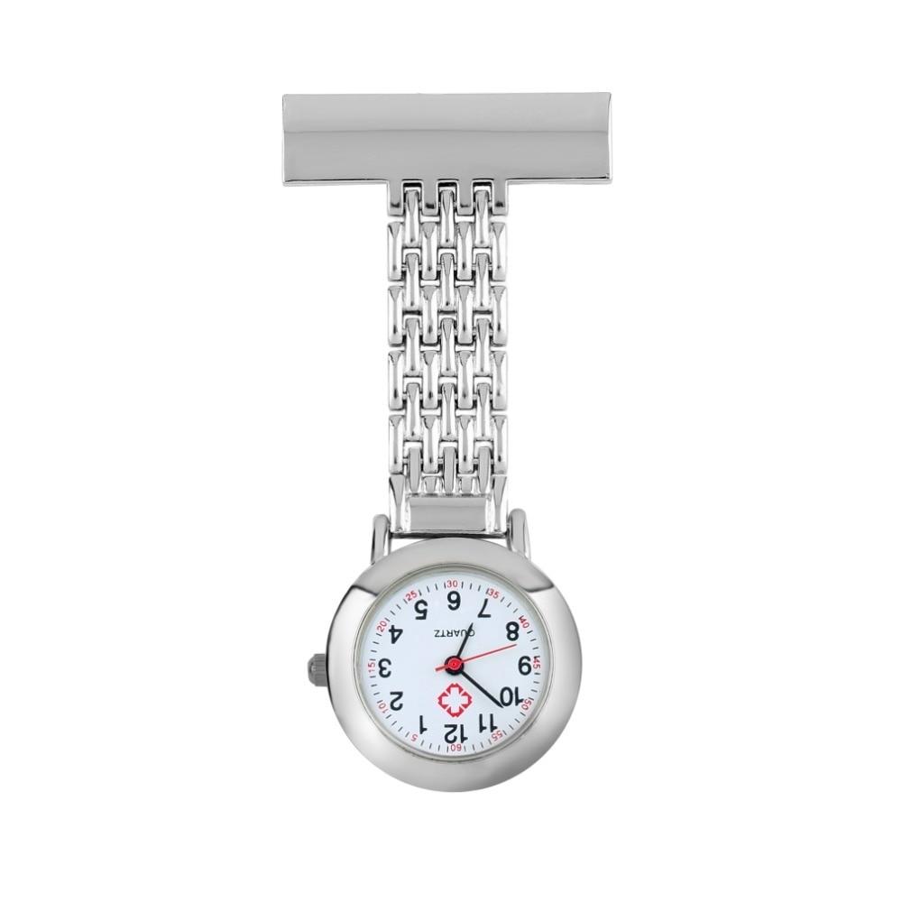 OUTAD Nurse Pocket Watch Stainless Steel Arabic Numerals Quartz Brooch Doctor Nurse Pocket Fob Watch