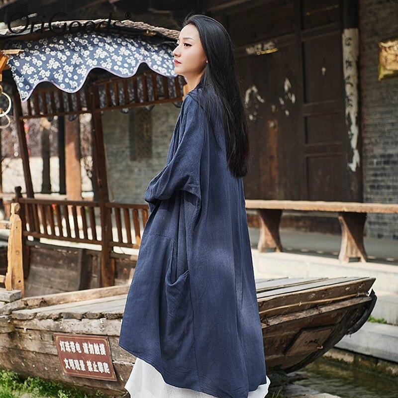 OriGoods Vintage Long Kimono chemise femmes lin grande taille à manches longues chemise Kimono style chemisier pour femmes été longs hauts B263 - 5