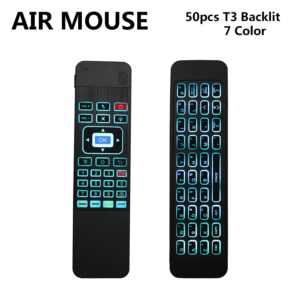 50pcs 2.4G Wireless fly Air mouse T3 Air mouse Backlit White remote control for Air Mouse Backlit For Android TV Box PC