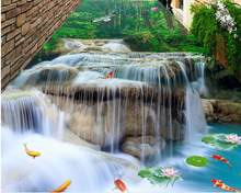 3D Flooring Waterfall Lotus carp Photo Wallpaper For Size Bathroom Living room Bedroom lobby 3D Floor Tiles Mural(China)