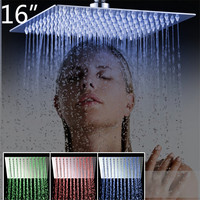 Torayvino 3 Colors LED Perfect Luxury Hot Sale LED Square Rain 16 Shower Head Wall Ceiling Mounted Top Over head Shower Sprayer
