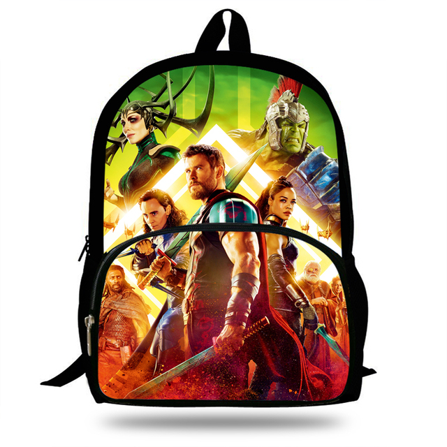 16inch Cool Student Bags Thor Backpack for Boys Marvel Avengers SchoolBag  Girls Travel Backpack For Children Teenagers cd0ae1a382c88