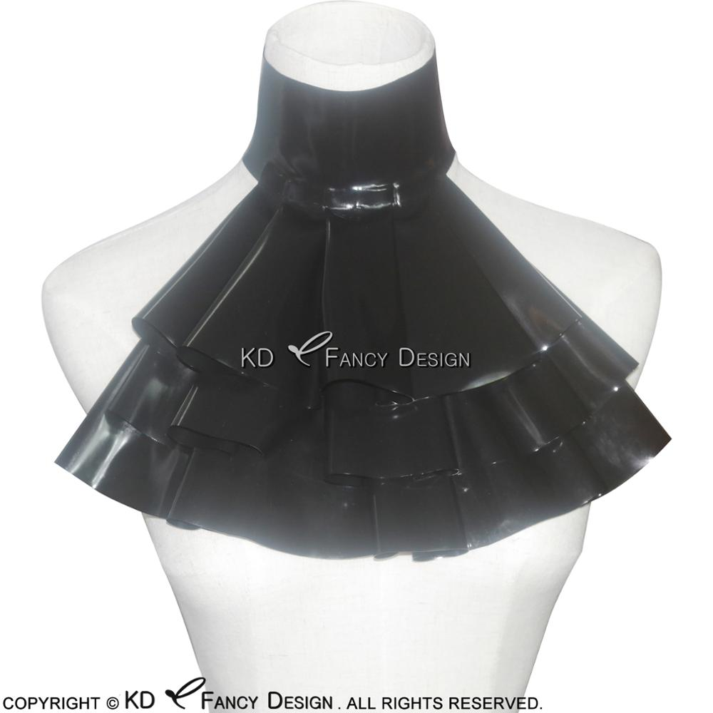 Black Sexy Latex Jabot With Frills Rubber Collar For Cosplay JC-0001