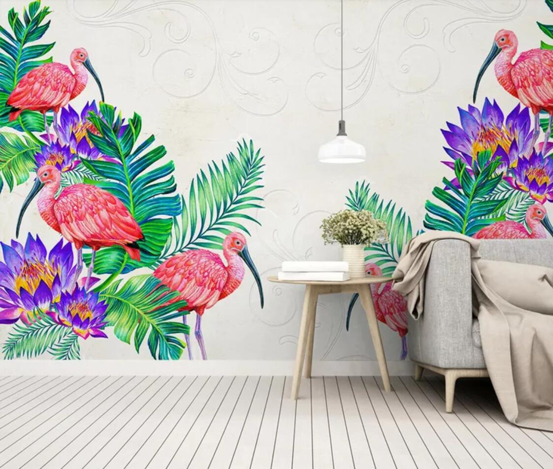 Tropical Leaves Flamingo Wall Mural Wallpaper European Floral Bird