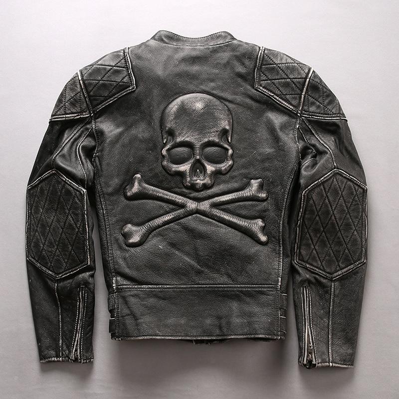 2018 Fashion Schädel Echte Lederjacke Männer Vintage Schwarz Motorrad Biker Jacke Rindsleder Punk Slim Fit Echte Lederjacke Sparen Sie 50-70%