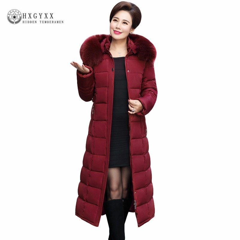Us 54 5 50 Off 5xl Long Slim Quilted Jacket Woman Military Parka Female Winter Coats Plus Size Thick Warm Cotton Outwear Fur Hooded Okd480 In Parkas