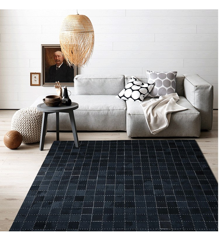 Luxury Cowhide Seamed Rug , Pure White Color Real Natrual Cowskin Carpet, Black  Living Room Bedroom Decorative Ground Mat  In Rug From Home U0026 Garden On ...