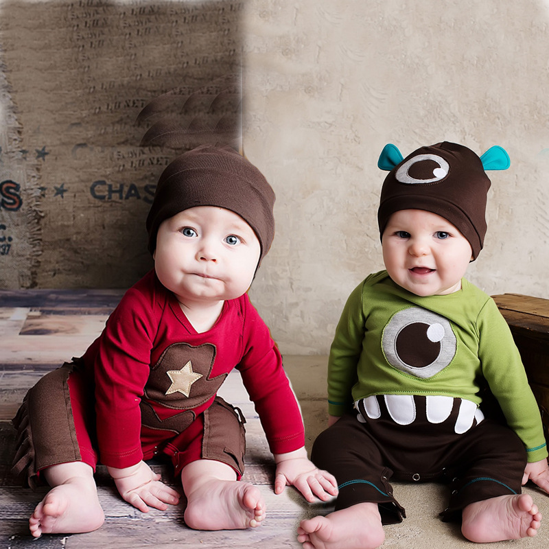 3pcs/lot newborn baby cotton rompers lovely monster baby boy girls long sleeve baby costume jumpsuits roupas bebes clothes 2017 spring summer newborn cartoon rompers baby clothes girls cotton long sleeve clothing bebes boy jumpsuits infant costume