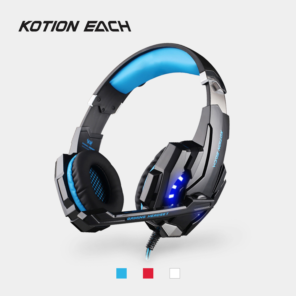 KOTION EACH G9000 USB Gaming Headphone 7.1 Surround Wired Earphone with Mic LED Light Noise Cancellation Headsets for PS4 Laptop