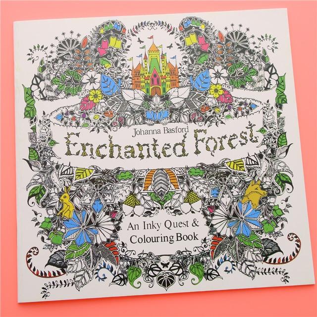 24 Páginas Bosque Encantado Edición Inglés Libro Para Colorear Para Los Niños Adultos Aliviar El Estrés Matan Pintura Cuaderno de Dibujo