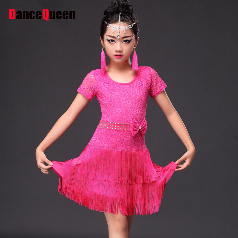 Pink Latin Dancing Dresses For Girl Good Quality Tassel Skirt Chacha Children Kid School Girl Ballroom Game Showing Dress 10348
