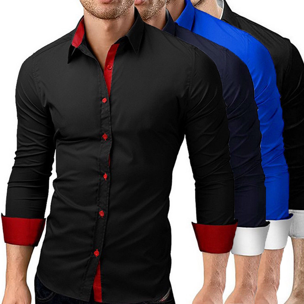 Fashion Mens Formal Business Stylish Slim Fit Long Sleeve Basic Dress Shirts Tops Plus Size M-4XL