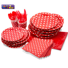 LolliZ Party Pack For 8, Red/Polka Dots Design Kids Birthday Party Decoration Set Party Supplies Baby Birthday Pack