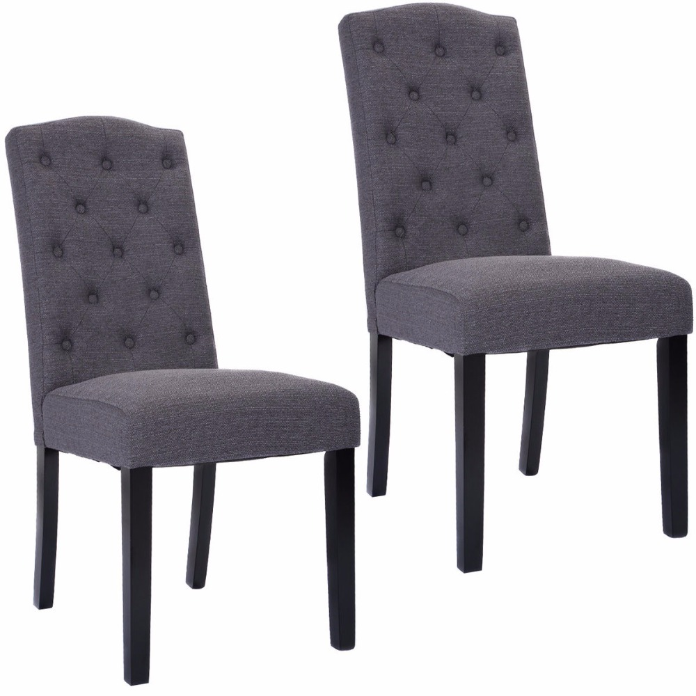 Goplus set of 2 fabric wood accent dining chair tufted for Modern dining chairs philippines