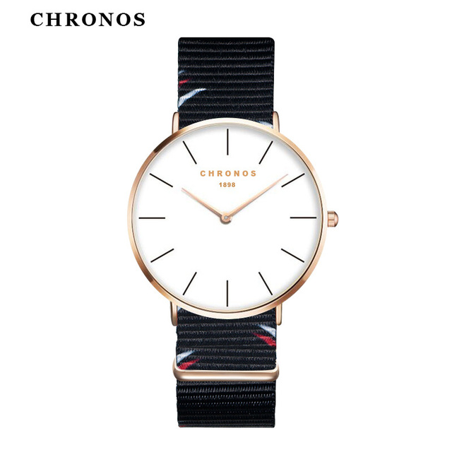 Fashion Women Men Nylon Band Watch Unisex Couple Lover Ultra Thin Minimalist Ana