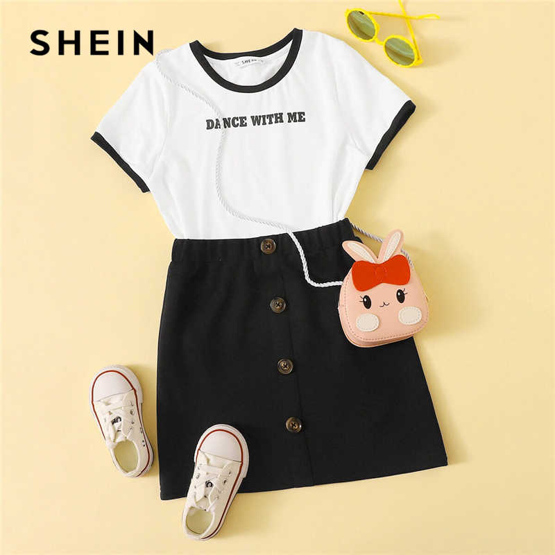 SHEIN Kiddie Girls Letter Print T-Shirt And Buttoned Skirt Casual Set Kids 2019 Summer Short Sleeve Preppy Teenagers Suit Sets
