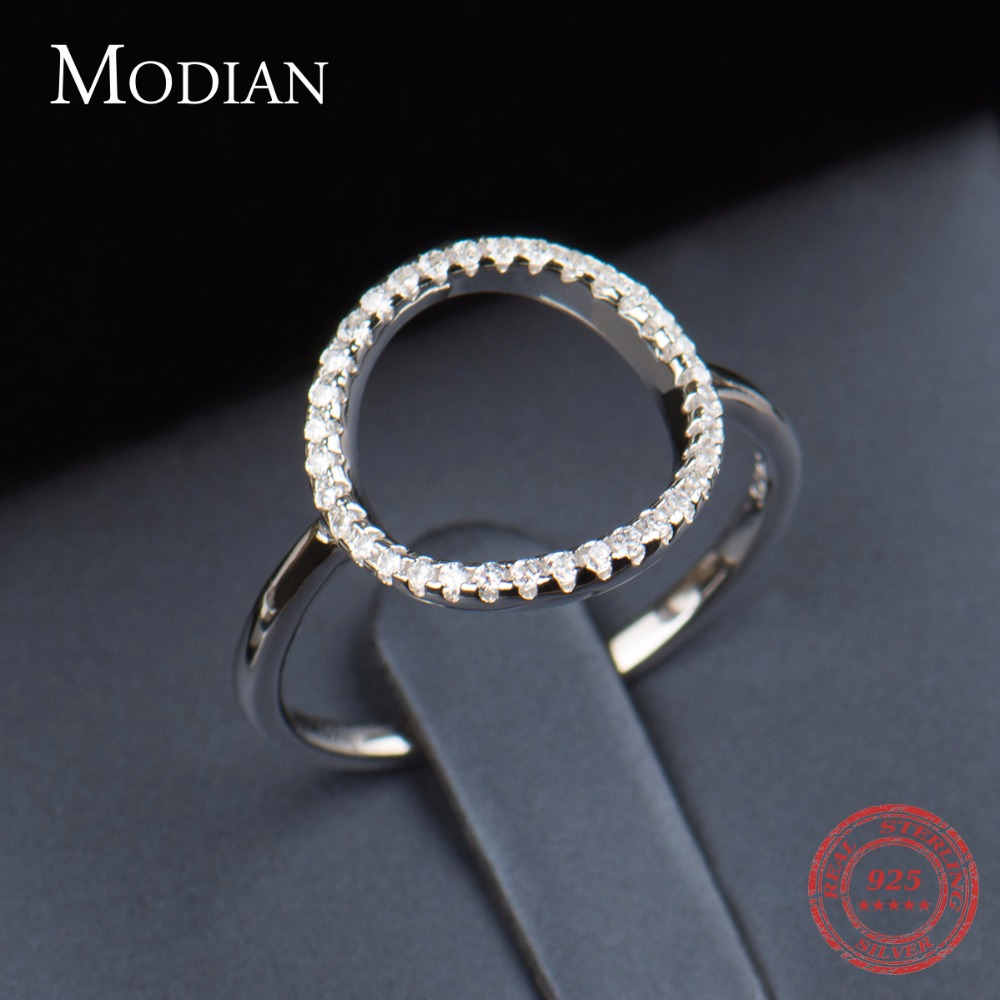 Classic Fashion Hollow Out Hoop Sparkling White And Rose Ring Cubic - Mote smykker - Bilde 4