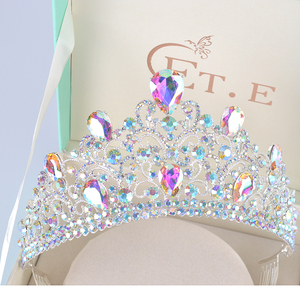 Nieuwe Grote Europese Bruid Bruiloft half Tiara Kronen Verzilverd Oostenrijkse Kristal Grote Koningin tiara Bruiloft Haar Accessoires