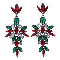 2017 New All-match European Pop Earrings Shining Gem Rhinestone Flower Dangle Earrings Fashion Jewelry for Women