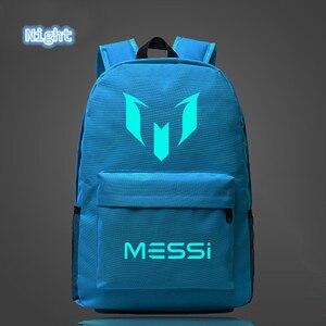Image 5 - 2018 School Shoulders Soccer Bags Messi Backpack Logo Printing Luminous Backpacks For Children Kids Travel Mochila