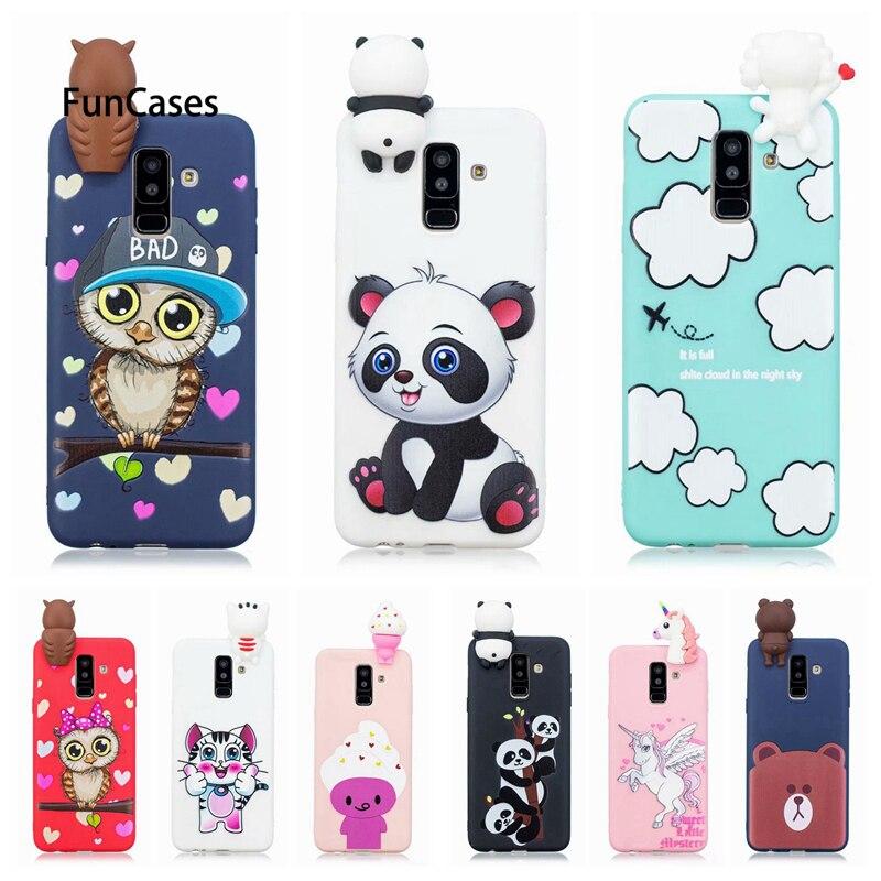 A6 2018 Case on For Samsung Galaxy A6 Plus 2018 3D Toys Panda Owl Cartoon Soft TPU Cover Fundas For Samsung A 6 A6Plus 2018 Case