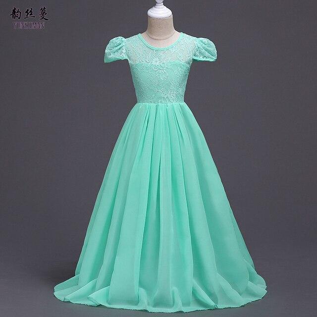 Kids Girls Wedding Flower Girl Long Dresses Chiffon Princess Formal ...