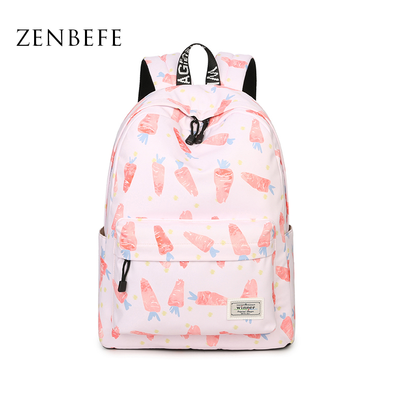 ZENBEFE Carrot Pattern Printing Backpacks Cute Backpack For Girls Pink Backpack For School Bag Small Bag
