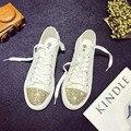 summer women canvas shoes low top flat casual shoes plimsolls espadrilles woman bling decoration plain shoes zapatos XK021405