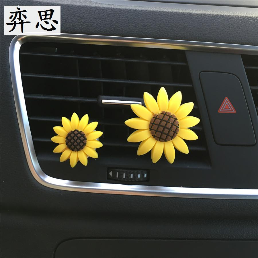 A pair Lovely sunflowers Perfume clamp for automobile air conditioner Ornaments Car perfume Sunflower freshener