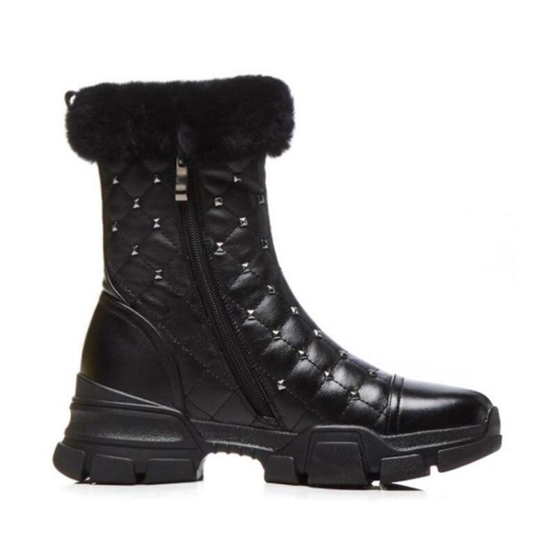 Rivet 2 Rond mollet Lebaluka 34 Épais Mi Peluche 39 Chaussures Bout black Fourrure En Bottes Taille D'hiver De Cuir Chaud Femmes Black Neige Véritable 1 TY8qS