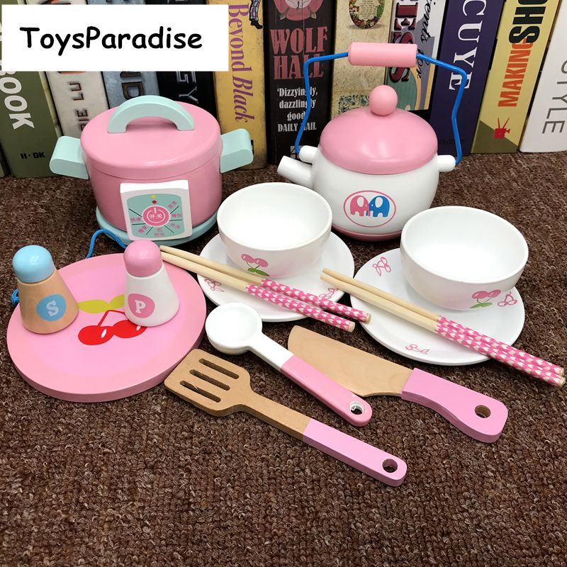 Baby Toys 14Pcs Simulation Electric Rice Cooker Afternoon Tea Set Wooden Toys For Kids Kitchen Toys