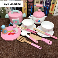 Baby Toys 14Pcs Simulation Electric Rice Cooker/Afternoon Tea Set Wooden Toys For Kids Kitchen Toys Set Educational Toys Gift