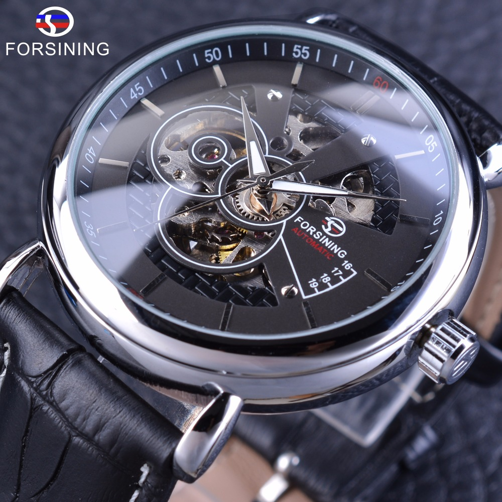 Forsining Silver Black Military Fashion Automatic Wrist Watch Men Watches Top Brand Luxury Genuine Leather Belt Mechanical Clock skmei 6911 womens automatic watch women fashion leather clock top quality famous china brand waterproof luxury military vintage